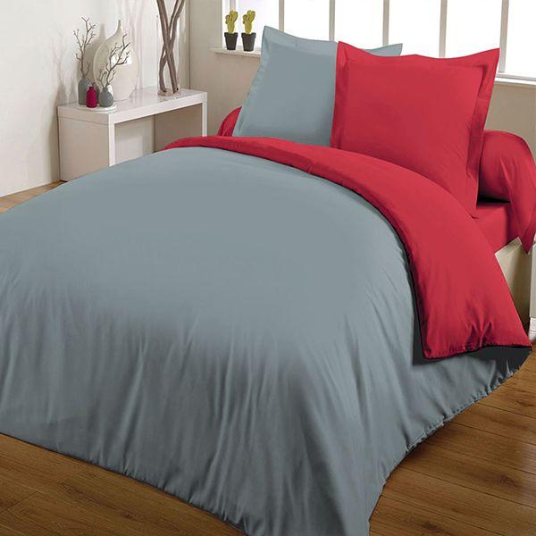 Parure de couette bicolore 100% coton 220x240 Rouge Gris