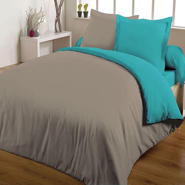 achat parure de couette bicolore 100 coton 220x240 turquoise taupe pas cher. Black Bedroom Furniture Sets. Home Design Ideas