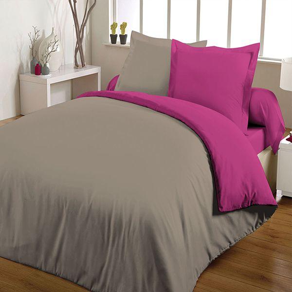 achat parure de couette bicolore 100 coton 240x260. Black Bedroom Furniture Sets. Home Design Ideas