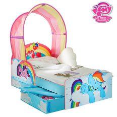 Lit enfant My Little Pony avec ciel de lit et rangements