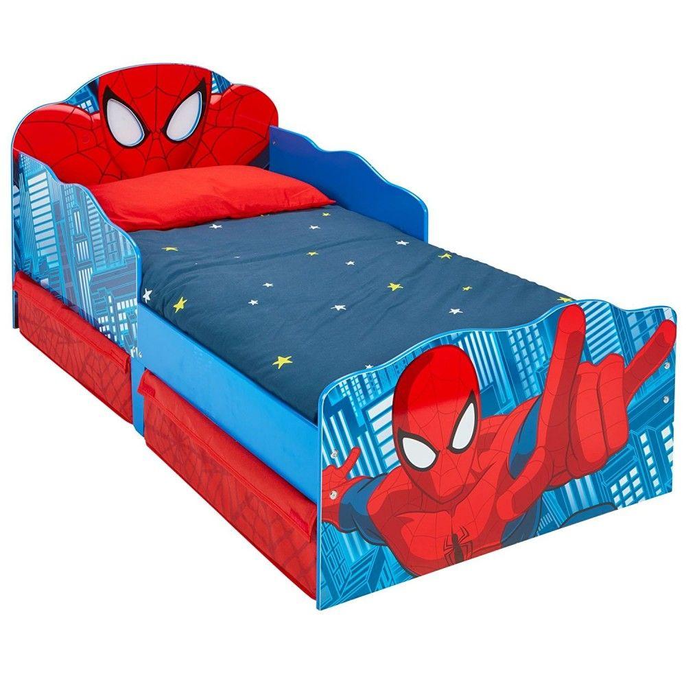 lit enfant achat lit spider man lumineux avec rangements pas cher. Black Bedroom Furniture Sets. Home Design Ideas
