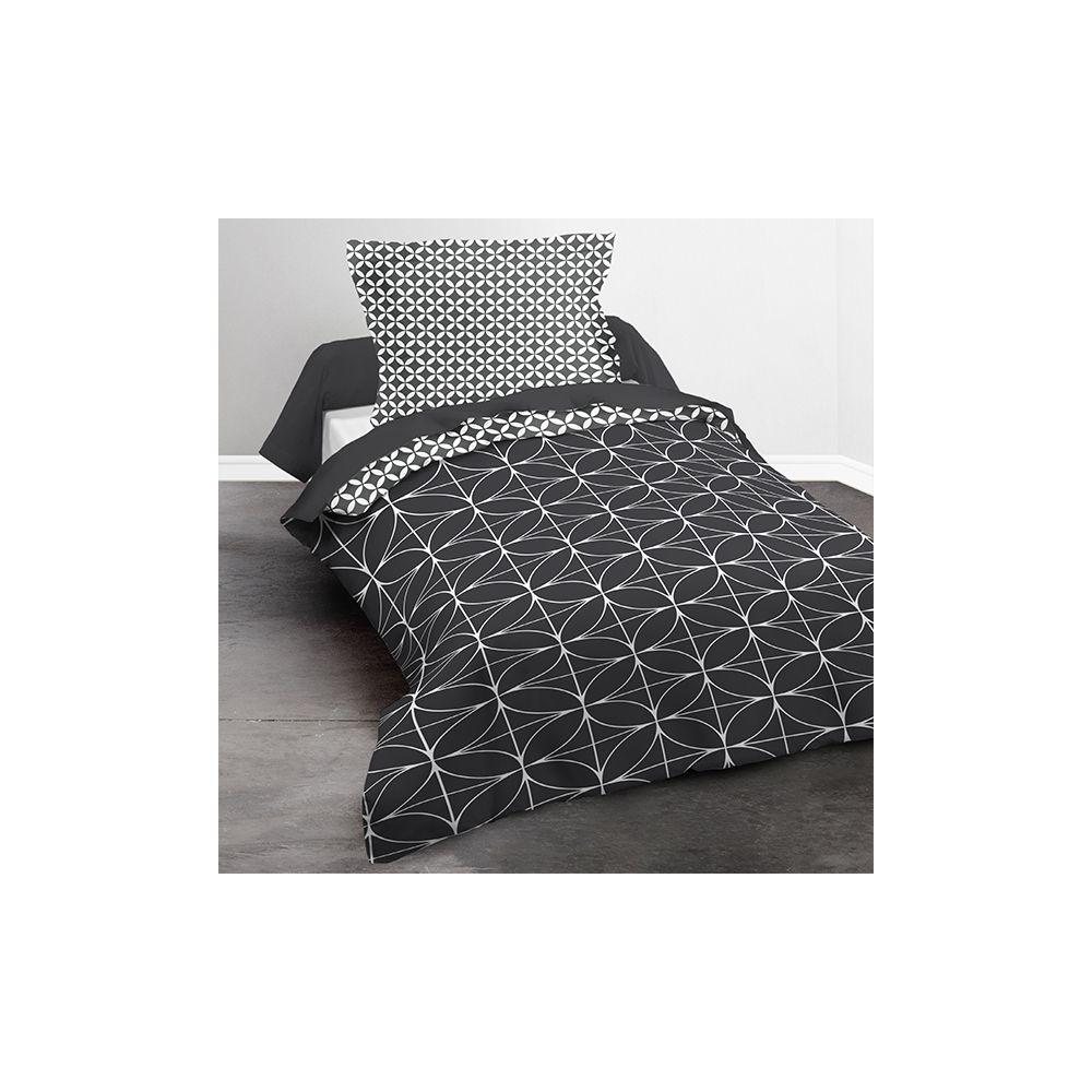 achat parure de couette today microfibre 140x200 geometrique chik noir pas cher. Black Bedroom Furniture Sets. Home Design Ideas