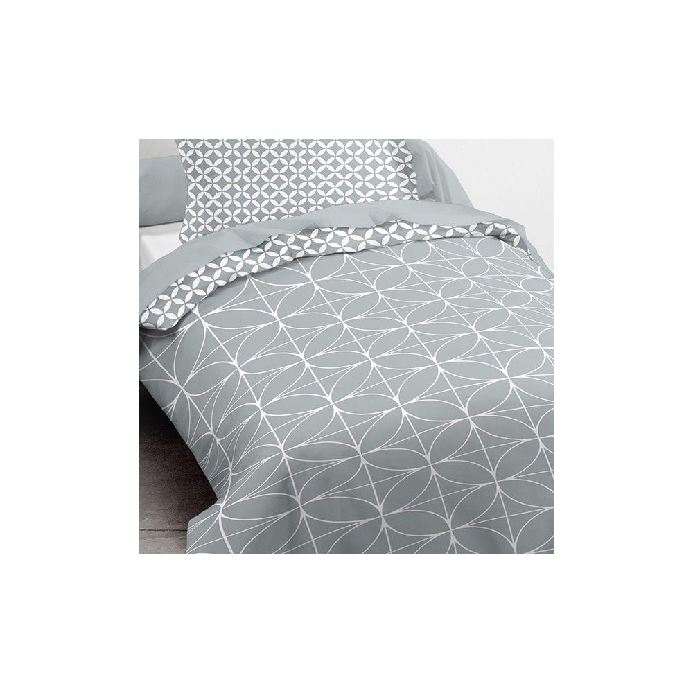 achat parure de couette today microfibre 140x200 geometrique chik zinc pas cher. Black Bedroom Furniture Sets. Home Design Ideas