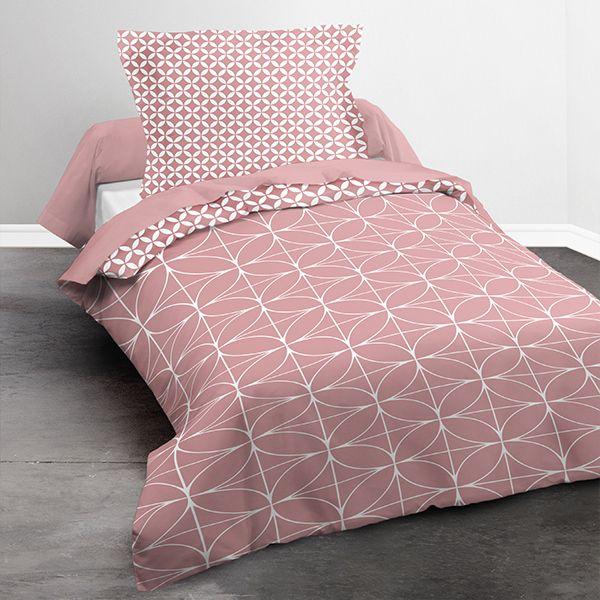 achat parure de couette today microfibre 140x200 geometrique chik blush pas cher. Black Bedroom Furniture Sets. Home Design Ideas