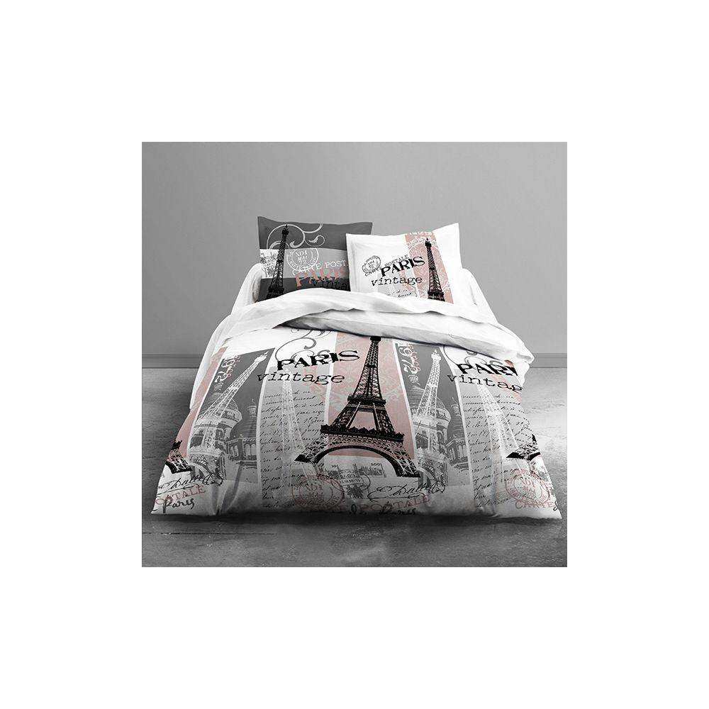 achat parure de couette today 100 coton 3 pi ces 240x260 vintage paris pas cher. Black Bedroom Furniture Sets. Home Design Ideas