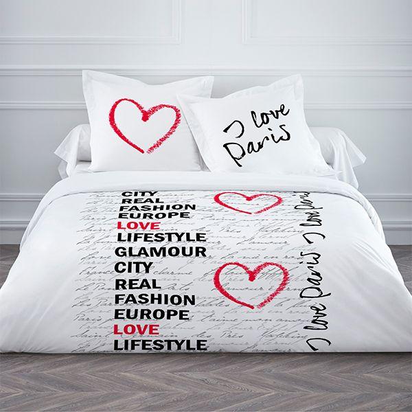Parure de couette 100% coton Today 220x240 I Love Paris