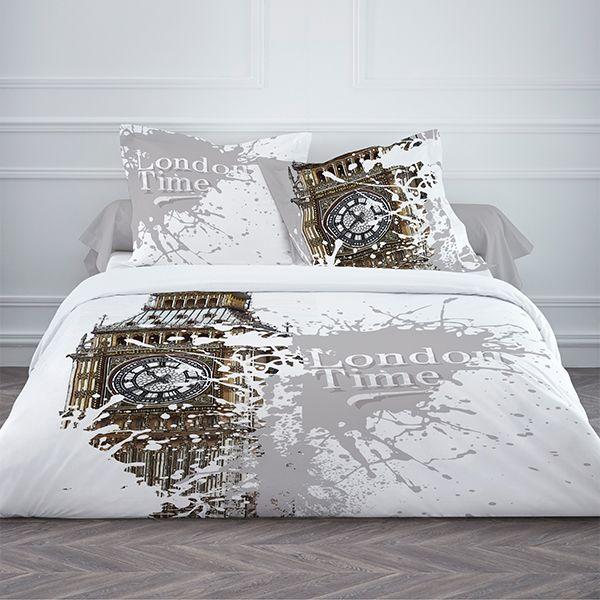 Achat parure de couette 100 coton today 220x240 3pcs london time pas cher - Ikea linge de lit 2 personnes ...