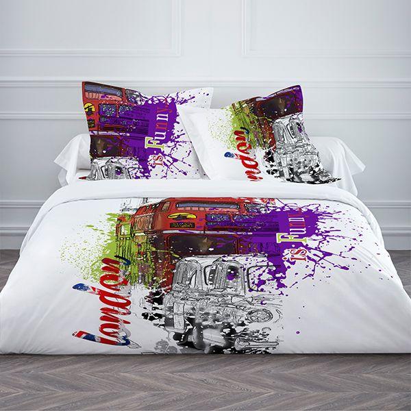 achat parure de couette 100 coton today 220x240 3pcs is funny pas cher. Black Bedroom Furniture Sets. Home Design Ideas