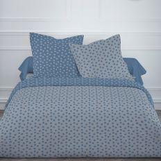 Parure de lit coton 220x240 cm Today Mawira Pois Gris / Bleu