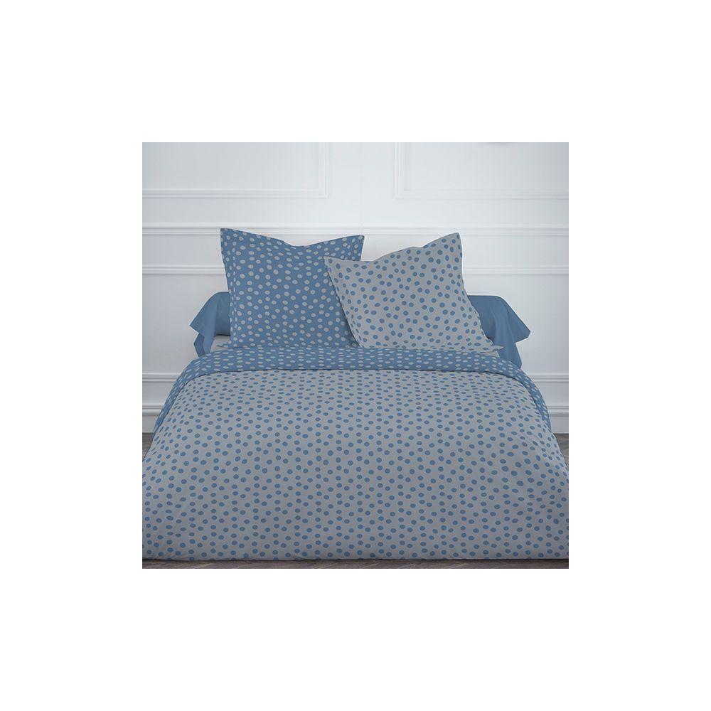 achat parure de lit coton 220x240 cm today mawira pois gris bleu pas cher. Black Bedroom Furniture Sets. Home Design Ideas