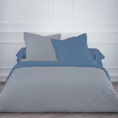 Parure de lit coton 220x240 cm Today Mawira Unis Gris / Bleu