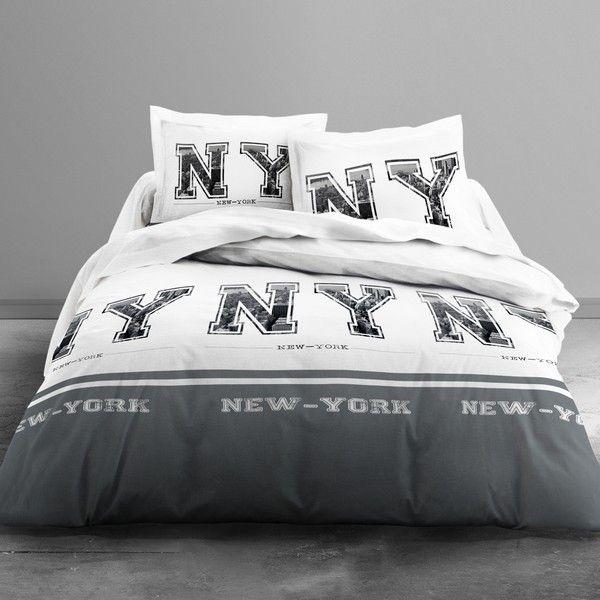 achat parure de lit microfibre 220x240 cm today ny grey pas cher. Black Bedroom Furniture Sets. Home Design Ideas
