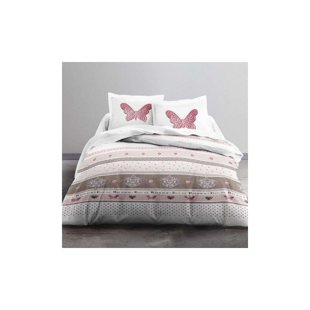 achat parure de lit microfibre 220x240 cm today cute butterfly pas cher. Black Bedroom Furniture Sets. Home Design Ideas