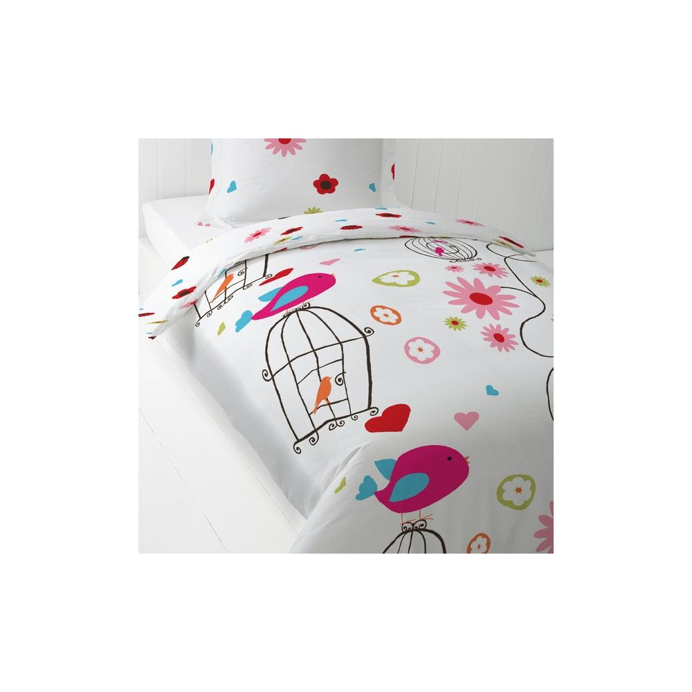 achat parure de lit coton 140x200 cm today pink bird pas cher. Black Bedroom Furniture Sets. Home Design Ideas