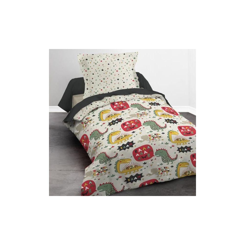 achat parure de lit coton 140x200 cm today dino family pas cher. Black Bedroom Furniture Sets. Home Design Ideas