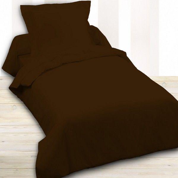today achat housse de couette coton 140x200 cacao pas cher. Black Bedroom Furniture Sets. Home Design Ideas