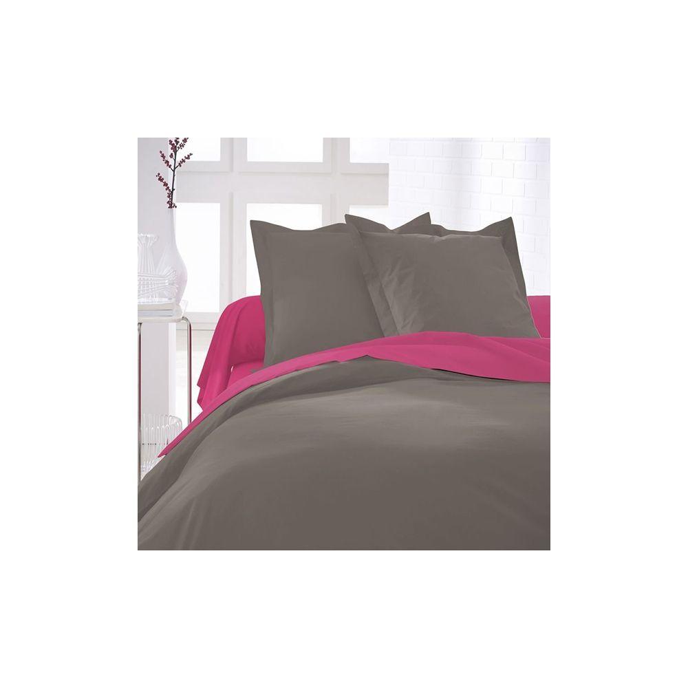 today achat housse de couette coton 220x240 bronze pas cher. Black Bedroom Furniture Sets. Home Design Ideas