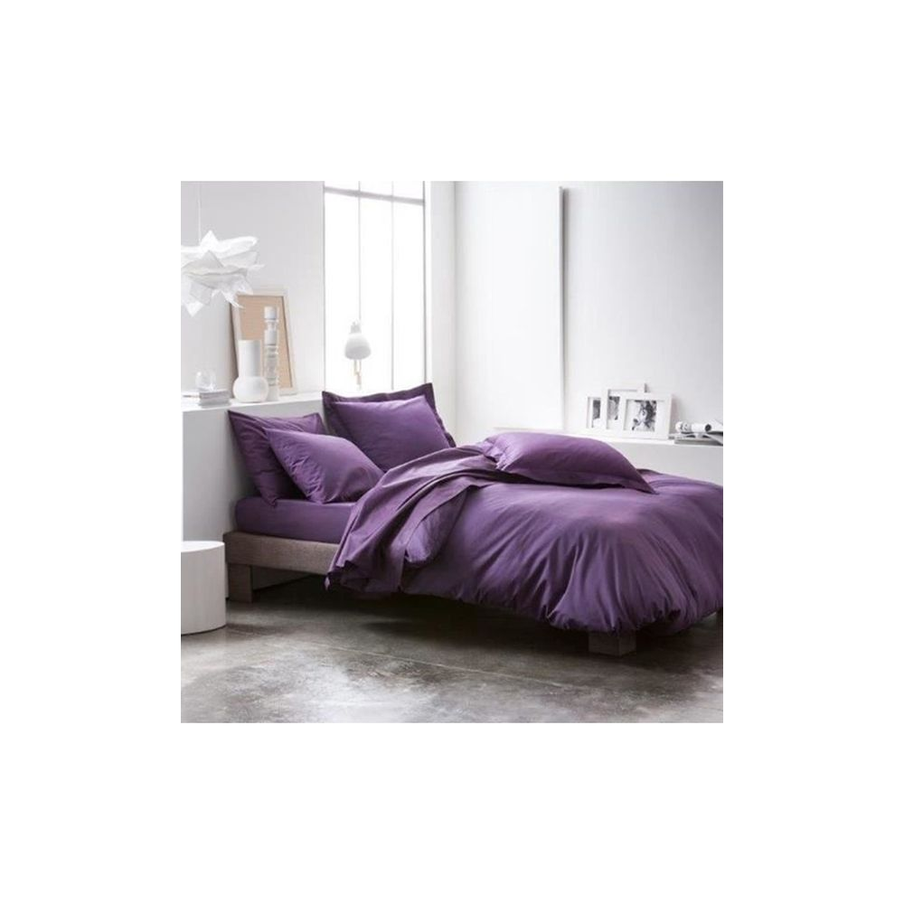 today achat housse de couette coton 240x260 deep purple pas cher. Black Bedroom Furniture Sets. Home Design Ideas