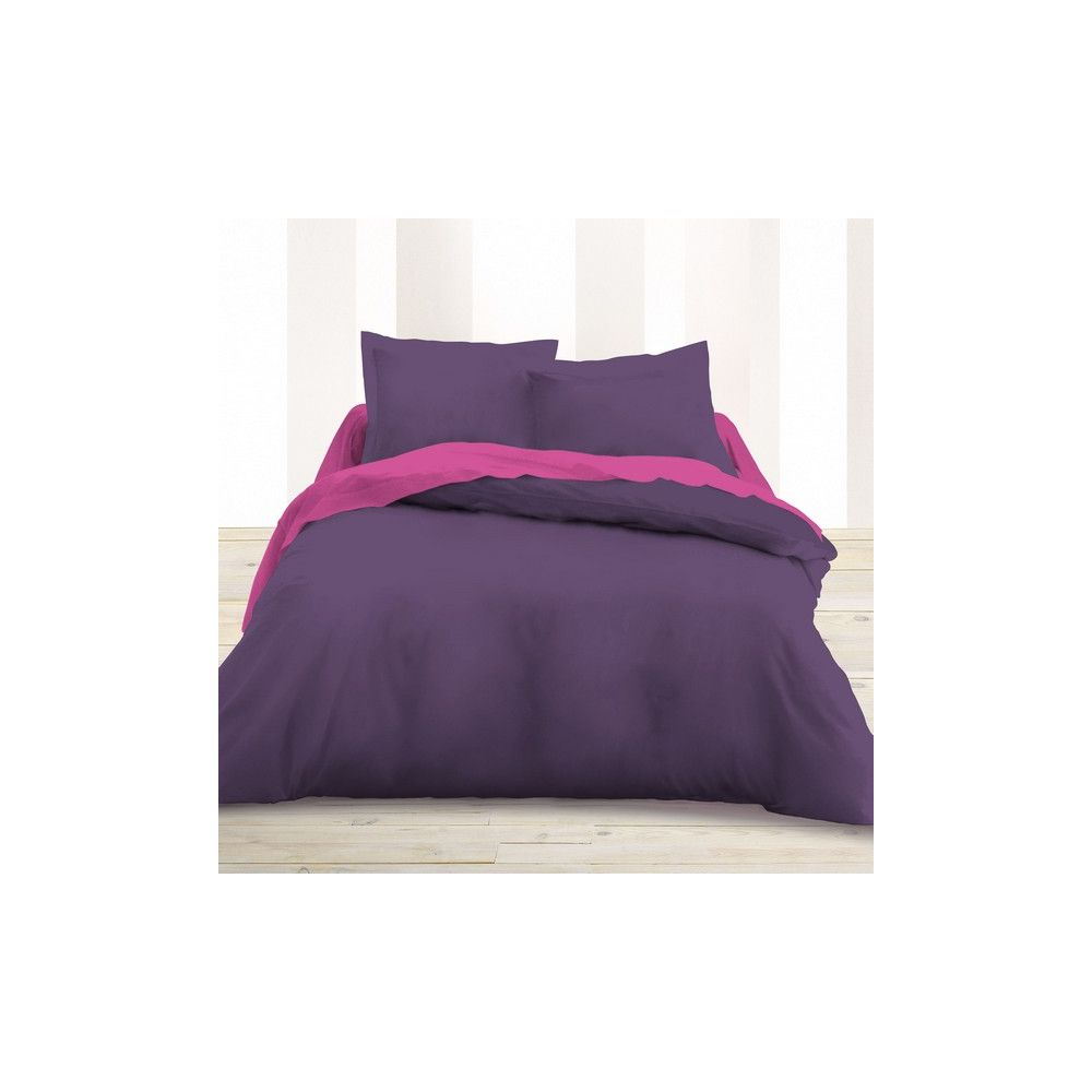 today achat housse de couette coton 240x260 deep purple. Black Bedroom Furniture Sets. Home Design Ideas