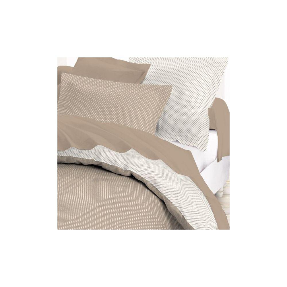 today achat housse de couette coton 140x200 mille pois mastic pas cher. Black Bedroom Furniture Sets. Home Design Ideas