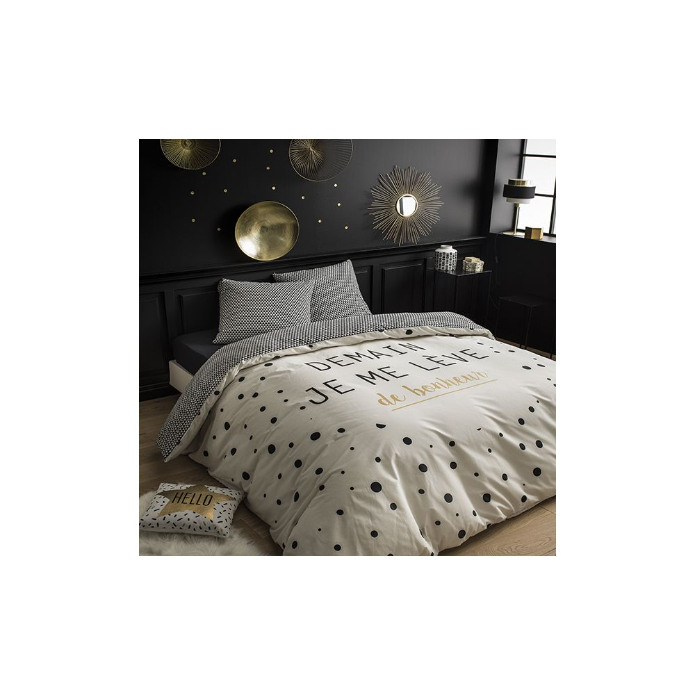 today achat parure de lit coton 220x240 bonheur pas cher. Black Bedroom Furniture Sets. Home Design Ideas