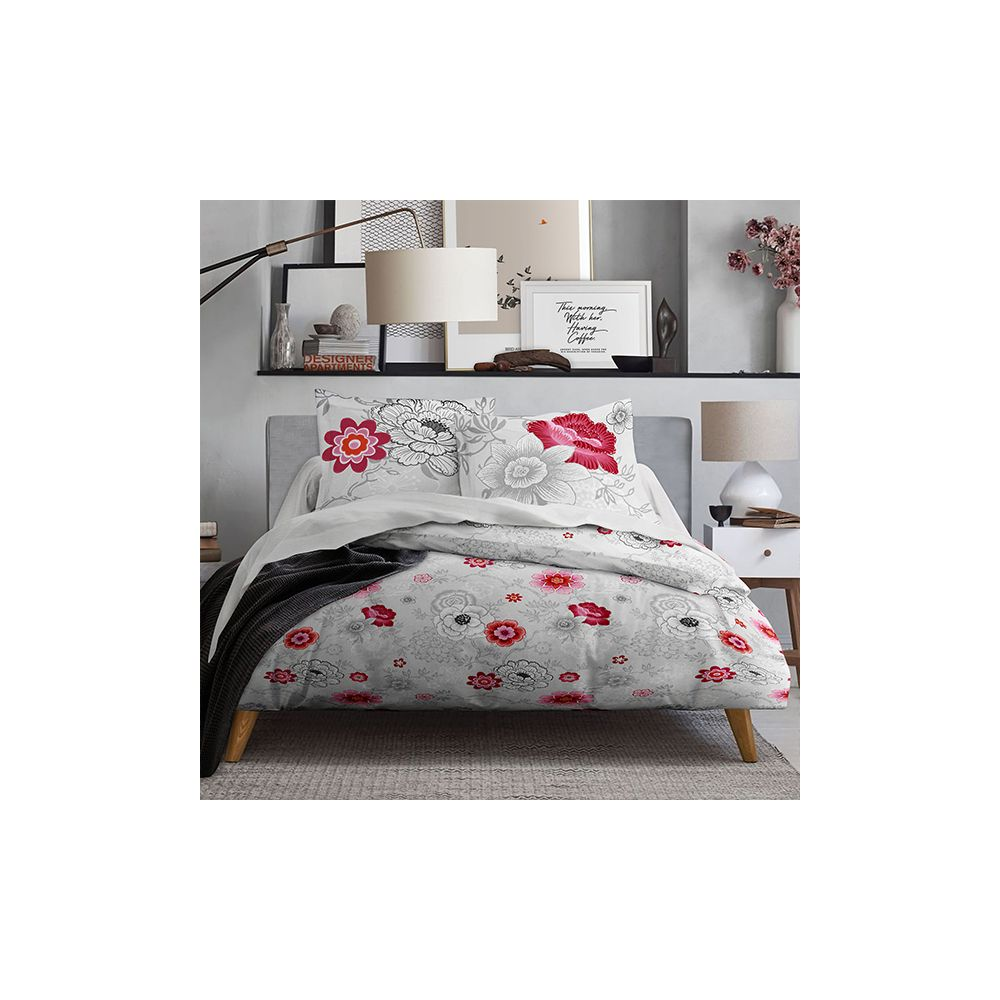 achat parure de couette coton 220x240 mawira rosa pas cher. Black Bedroom Furniture Sets. Home Design Ideas