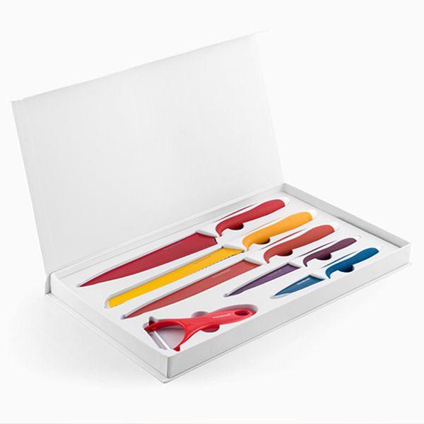 Set de 5 couteaux revêtement céramique + éplucheur