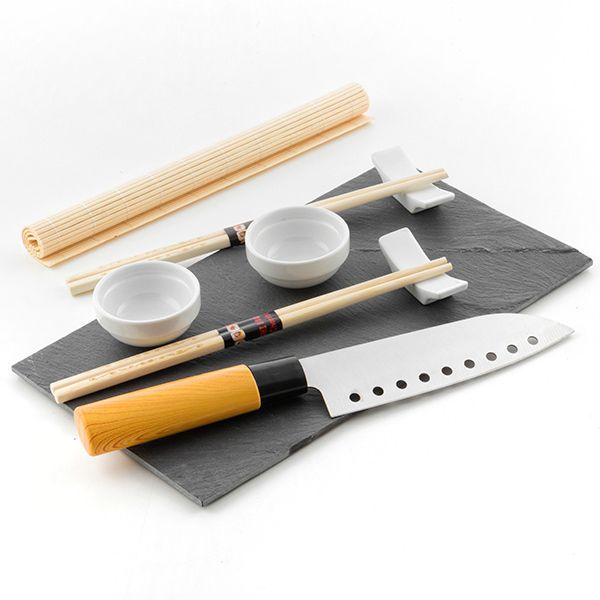 Service à sushi 9 pièces avec plateau et couteau
