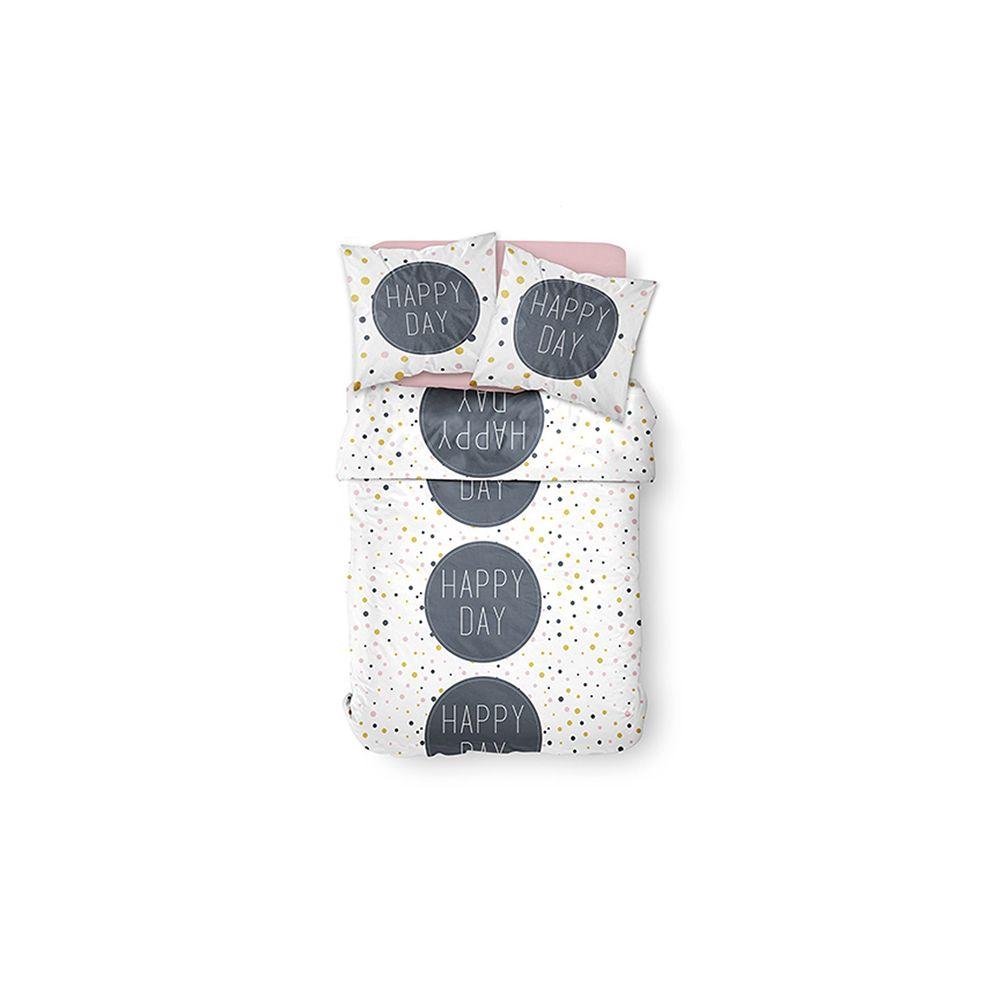 Parure de couette 100% coton Happy Day Today : Taille - 220 x 240 cm