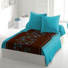 Parure de drap 4 pièces microfibre 240x300 cm Cacao Barry Turquoise