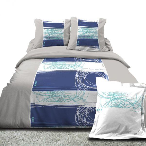 housse de couette achat parure de lit coton gemme bleu. Black Bedroom Furniture Sets. Home Design Ideas