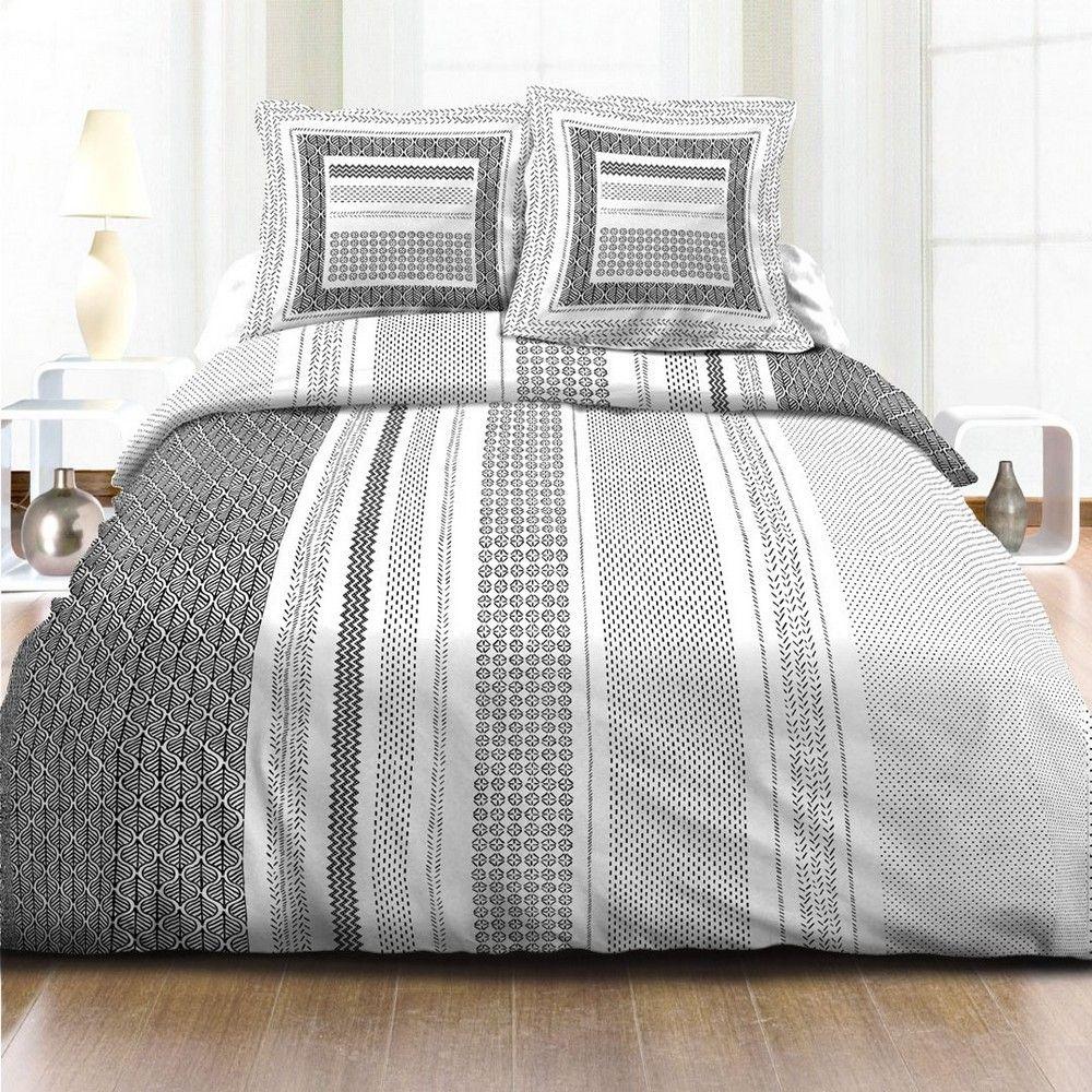 housse de couette achat parure de lit coton black pas cher. Black Bedroom Furniture Sets. Home Design Ideas