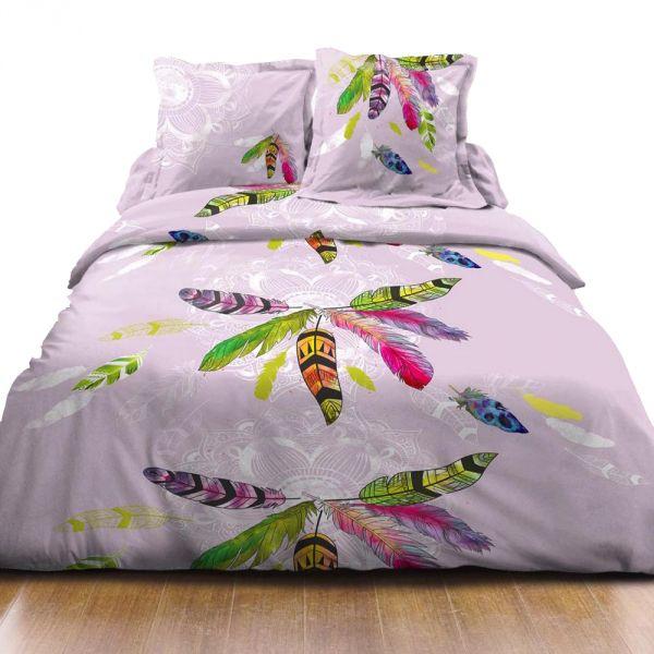 housse de couette achat parure de lit coton plume parme pas cher. Black Bedroom Furniture Sets. Home Design Ideas