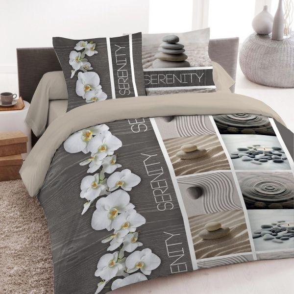 housse de couette achat parure de lit coton serenity pas cher. Black Bedroom Furniture Sets. Home Design Ideas