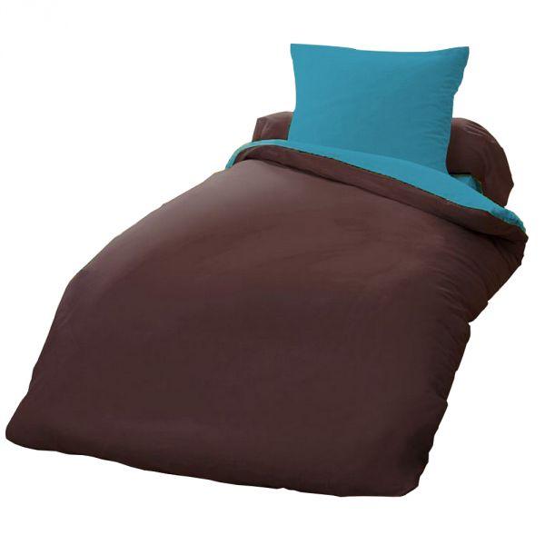 Parure de couette 100% coton bicolore 135x200 cm
