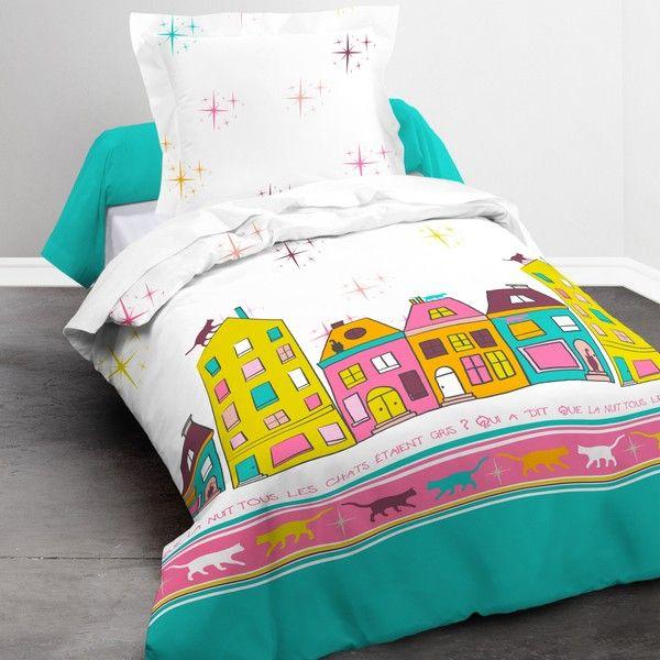 Parure de lit coton 140x200 cm Today Happy Nuit Chat