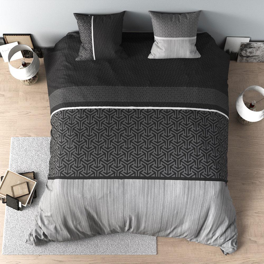 Housse De Couette Noir Blanc Gris housse de couette percale - parure de lit réversible noir