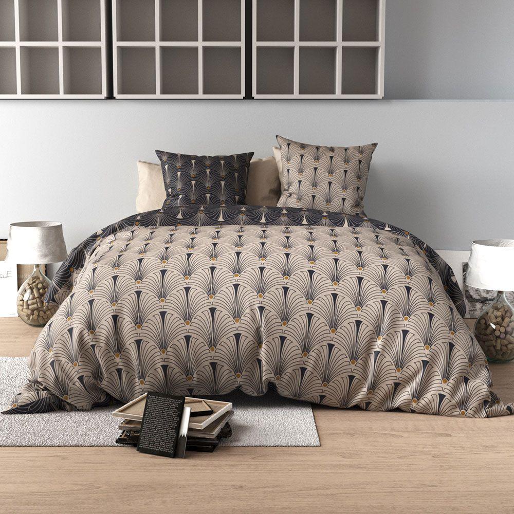 Housse de couette percale parure de lit r versible art - Housse de couette en percale de coton ...
