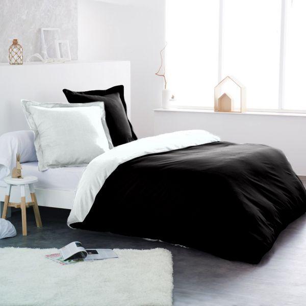Parure de couette coton Noir/Blanc 220x240 cm