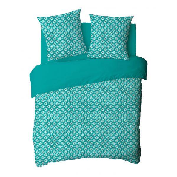 Parure de couette coton Ceramic Turquoise 220x240 cm
