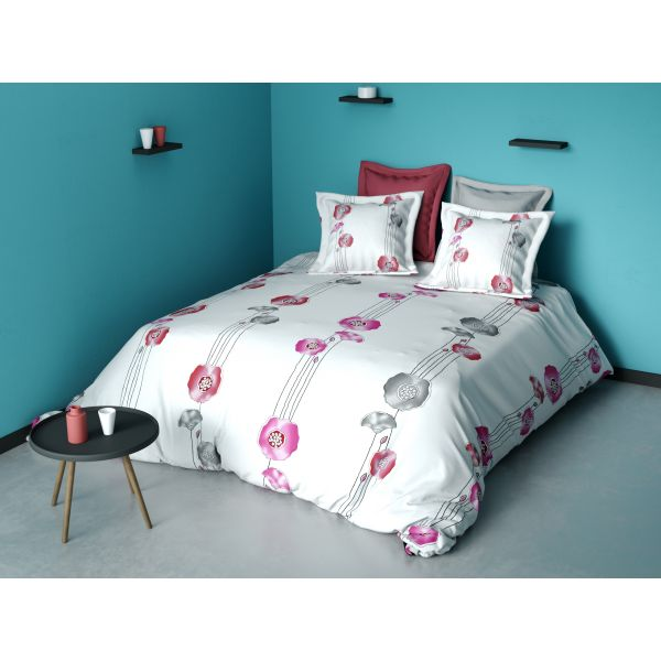 housse de couette parure de couette coton fleur rose 220x240 cm pas cher. Black Bedroom Furniture Sets. Home Design Ideas