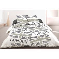 Parure de couette coton London Steets Gray 240x260 cm