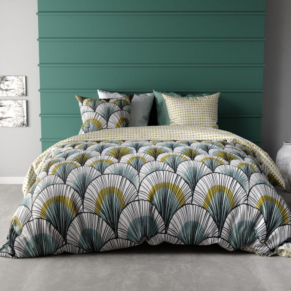 parure housse de couette r versible 100 coton 57 fils. Black Bedroom Furniture Sets. Home Design Ideas
