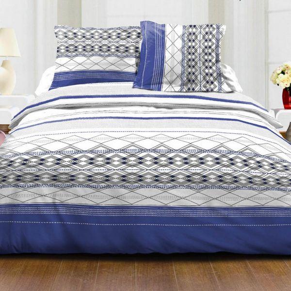 Parure de couette 100% Coton 57 fils 240x260 cm Jacquard Bleu