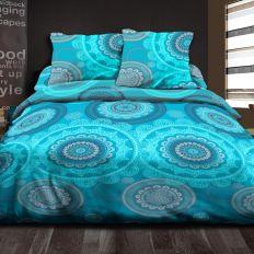 Parure de couette 100% Coton 57 fils 220x240 cm Mandala Turquoise