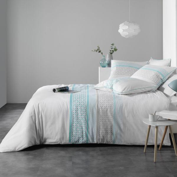 Housse de couette Coton Azurea Turquoise et taie d'oreiller