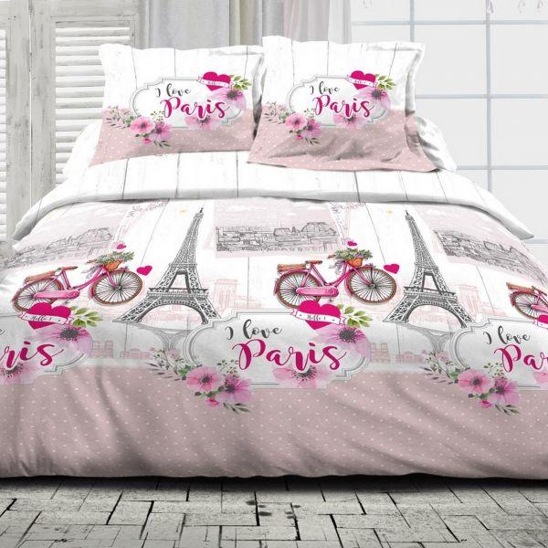 Parure de couette 100% Coton 57 fils I Love Paris Rose