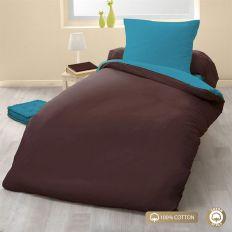 Parure de couette 140x200 100% Coton 57 fils Choco/Turquoise