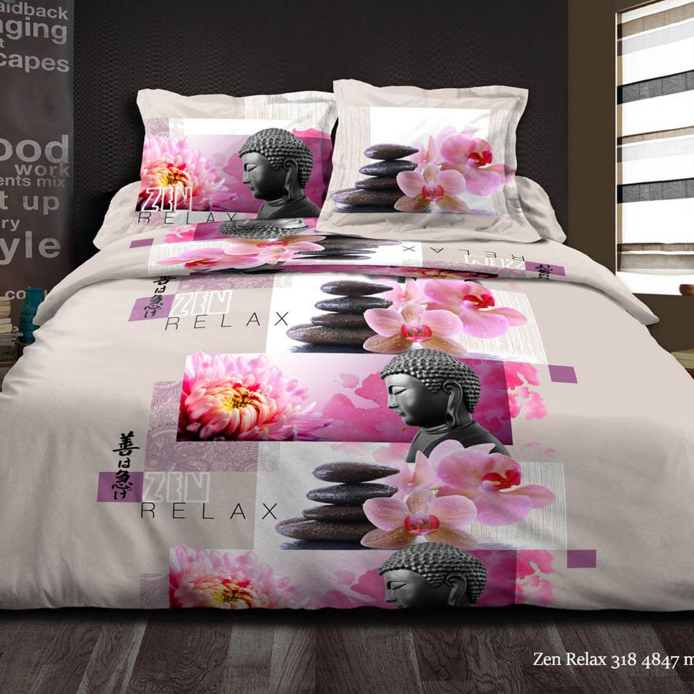 parure de couette 220x240 100 microfibre zen relax rose. Black Bedroom Furniture Sets. Home Design Ideas