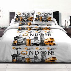 Parure de drap Polycoton London City Orange 240x300